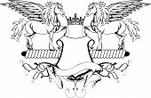 stock photo of pegasus  - heraldic pegasus coat of arms crest shield in vector format very easy to edit - JPG