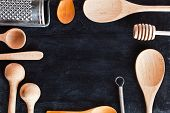 kitchen utensil frame on blackboard background