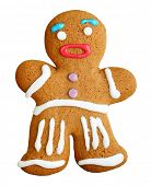 Gingerbread man, christmas cookie isolated on white background.