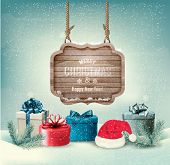Winter background with gift boxes and a wooden ornate Merry christmas sign. Vector.