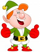 Cheerful Christmas elf showing thumbs up