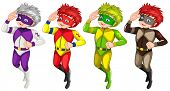 Superheroes in different colour costumes