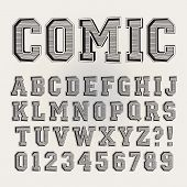 Retro Sport Comic Alphabet And Numbers, Eps 10 Vector Editable