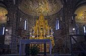 stock photo of church interior  - The interior of the old Catholic Church - JPG