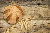 Loaf Of Wheat Bread With Ears Of Wheat