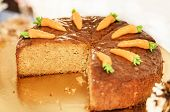 Carrot Cake Decorated With Carrots On The Top