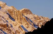 Snowy Peak in Ordesa National Park, Pyrenees, Huesca, Aragon, Spain
