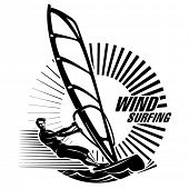 Windsurfing. Vector illustration in the engraving style