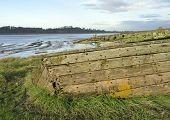 picture of collier  - Remains of the Severn Collier built in Stourport 1937 and beached at Purton in 1965 to help prevent the River Severn erroding into the Gloucester Sharpness Canal - JPG