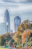 Charlotte North Carolina Skyline During Autumn Season At Sunset