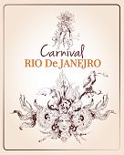 image of brazilian carnival  - Traditional rio brazilian carnival celebration poster with young beautiful woman and decoration masque sketch vector illustration - JPG