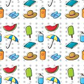 Seamless pattern of summer objects