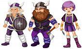 Viking warriors dressed in purple