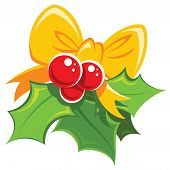 foto of mistletoe  - Cartoon simple mistletoe red and green design element with yellow bowtie - JPG