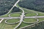 pic of intersection  - Top view on a big traffic intersection  - JPG