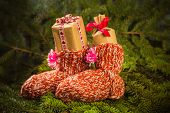Christmas Gifts Handsewn Socks Decorations Branches Spruce
