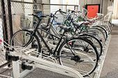 Lot of bicycles at a bike parking in Tokyo. Japan. 127 million people in Japan have 72 million bicycles.
