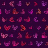 Abstract vector background Seamless hand drawn heart