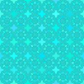 Abstract vector background Seamless round turquoise flower pattern