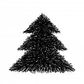 Scribble fir tree, Hand drawn design element
