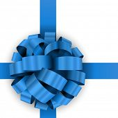 Christmas present blue bow template isolated on white background.