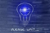 Funny Lightbulb With Progress Bar Inside, Innovation And New Ideas Loading (flare Version)