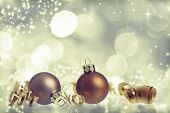 Vintage Christmas background with Christmas balls and decoration