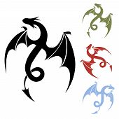 picture of adornment  - Vector Dragon silhouette icon for tattoo and decor in different colors isolated on white background - JPG