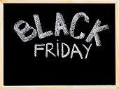 Black Friday Advertisement Handwritten With Chalk On Wooden Frame Blackboard