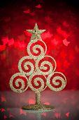 Golden fir-tree with christmas lights