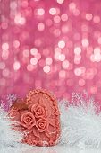 Christmas decoration on sparkles background