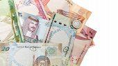 Modern Bahrain Dinars Banknotes On White Background