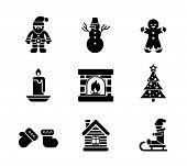 Black Christmas Icons on White Background