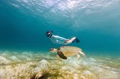 Underwater photo of young woman snorkeling and swimming with Hawksbill sea turtle