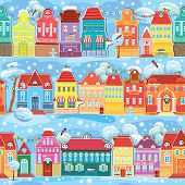 Seamless Pattern With Decorative Colorful Houses In Winter Time. Christmas And New Year Holidays