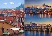 Collage of Prague landscapes and architecture