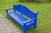 Blue Wooden Seat Bench  In Resort Park