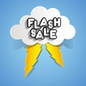 foto of flashing  - Flash Sale Design With Clouds And Thunders vector illustration - JPG