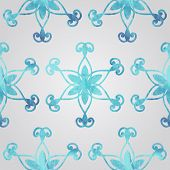 Vector Seamless Pattern With Watercolor Snowflakes