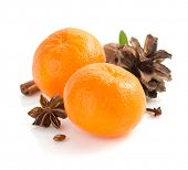 mandarin and spices isolated on white background