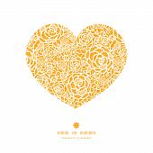 foto of lace  - Vector golden lace roses heart silhouette pattern frame graphic design - JPG