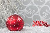 Red Ornament In Silver