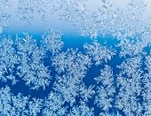 Snowflakes On Window Glass At Blue Winter Sunrise