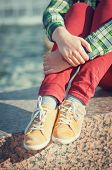 Yellow Sneakers On Girl Legs In Hipster Style