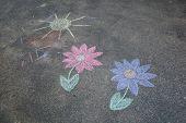 Children's chalk drawing