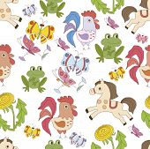 Seamless background card with funny animals ??????