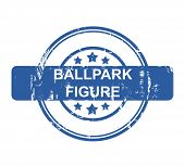 Ballpark figure business concept stamp with stars isolated on a white background.