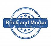 Brick and Mortar business concept stamp with stars isolated on a white background.