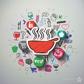 Meals collage with icons background