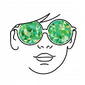Face with green kaleidoscopic glasses